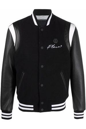 Philipp Plein Men Bomber Jackets - Signature stripe-trimmed bomber jacket