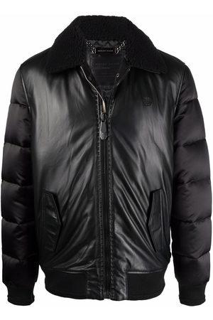 Philipp Plein Men Leather Jackets - Padded-leather bomber jacket