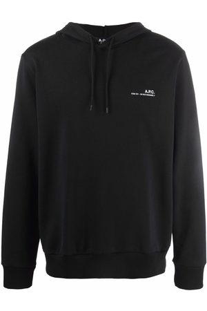 A.P.C. Men Sweatshirts - Logo-print cotton drawstring hoodie