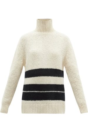 Jil Sander High-neck Striped Mohair-blend Sweater - Womens