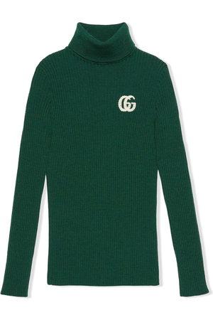 Gucci Girls Turtlenecks - GG logo-knit turtleneck jumper