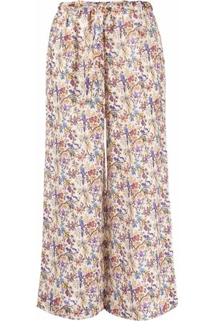 Etro Women Trousers - Cropped floral-print trousers