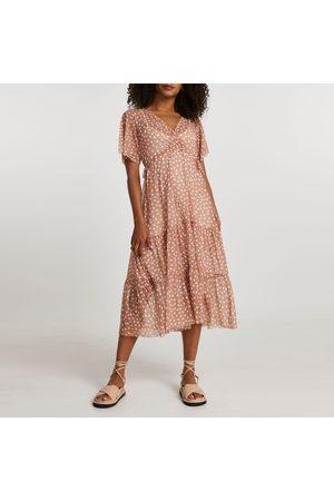 River Island Women Dresses - Womens short sleeve mesh v neck spot dress