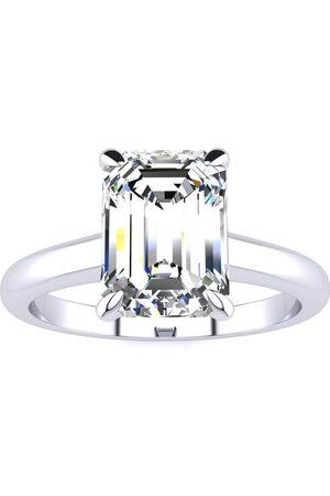 SuperJeweler Women Rings - 2 Carat GIA Certified Emerald Cut Diamond Solitaire Ring in Platinum (H-I, VS2-SI1), Size 4