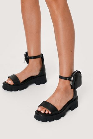 NASTY GAL Womens Faux Leather Stash Bag Chunky Sandals