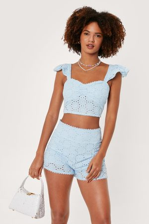NASTY GAL Womens Broderie Anglaise Ruffle Strappy Crop Top