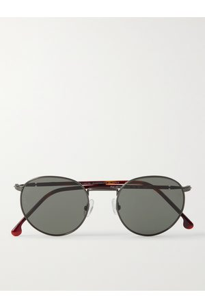 Loro Piana Men Sunglasses - Weekend Round-Frame Titanium and Tortoiseshell Acetate Polarised Sunglasses