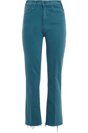Mother Women Bootcut - Woman Frayed High-rise Bootcut Jeans Teal Size 24