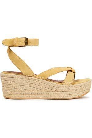 BA&SH Women Sandals - Woman Candella Knotted Suede Espadrille Wedge Sandals Pastel Size 36