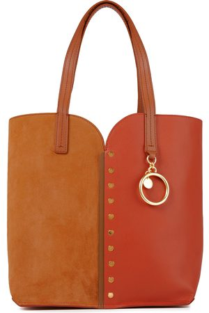 See by Chloé See By Chloé Woman Gaia Studded Color-block Suede And Textured-leather Tote Tan Size