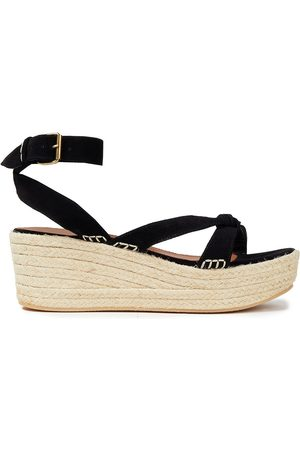 BA&SH Women Sandals - Woman Candella Knotted Suede Espadrille Wedge Sandals Size 36