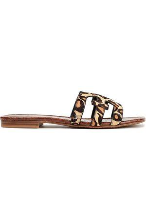 SAM EDELMAN Woman Leopard-print Calf Hair Slides Animal Print Size 10