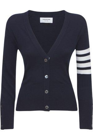 Thom Browne Women Cardigans - Intarsia Stripes Cashmere Knit Cardigan