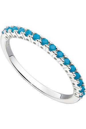 The Love Silver Collection Women Necklaces - Sterling Silver & Turquoise Nano Crystal Stacking Ring