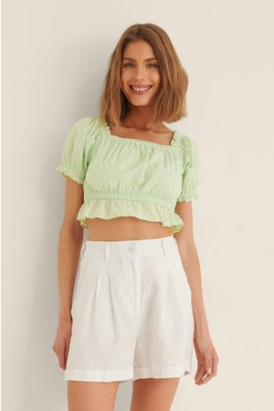 NA-KD Women Crop Tops - Anglaise Cropped Top - Green