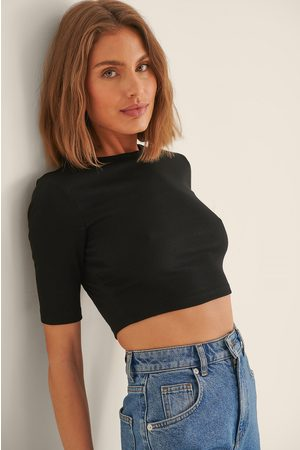 NA-KD Women Crop Tops - Recycled Round Neck Ribbed Crop Top - Black