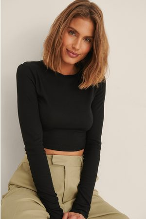 NA-KD Recycled Round Neck Ribbed Long Sleeve Crop Top - Black