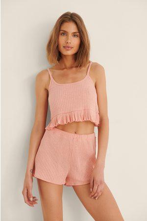 Trendyol Women Pyjamas - Ribbed Pyjamas Set - Orange