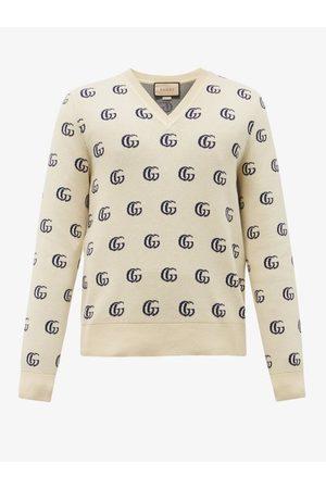 Gucci V-neck Gg-jacquard Cotton Sweater - Mens