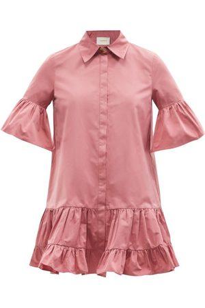 La DoubleJ Women Casual Dresses - Choux Ruffled Taffeta Mini Shirt Dress - Womens