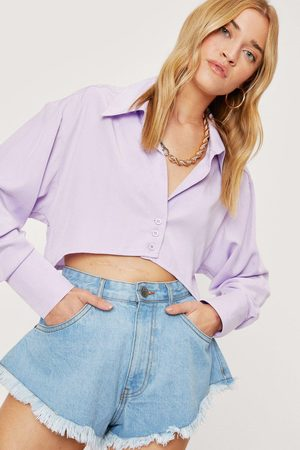 NASTY GAL Womens Cropped Oversized Button Down Shirt