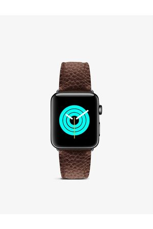 Mintapple Apple Watch grained-leather strap and stainless steel case 44mm