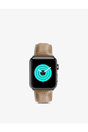 Mintapple Men Watches - Apple Watch alligator-embossed leather strap and stainless-steel case 44mm