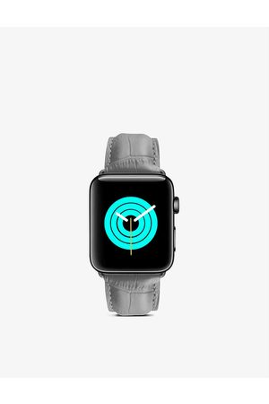 Mintapple Apple Watch alligator-embossed leather strap and stainless-steel case 40mm
