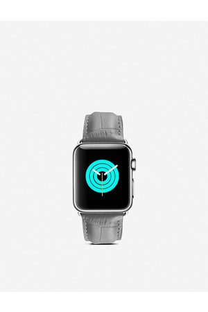 Mintapple Apple Watch alligator-embossed leather strap and stainless steel case 42/44mm
