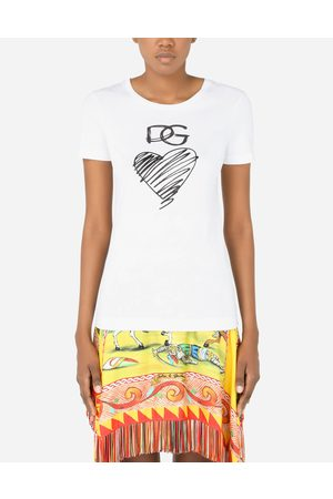 Dolce & Gabbana T-Shirts and Sweatshirts - Jersey T-shirt with DG and heart print female 40