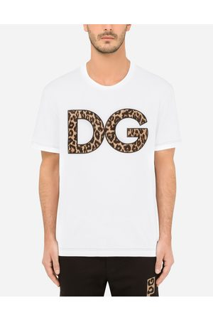 Dolce & Gabbana T-Shirts and Polos - Cotton T-shirt with leopard-print DG patch male 42