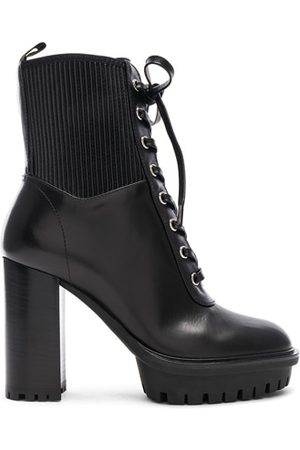 Gianvito Rossi Leather & Eco Stretch Martis Platform Ankle Boots in