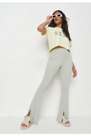 Missguided Sage Rib Split Front Flared Trousers