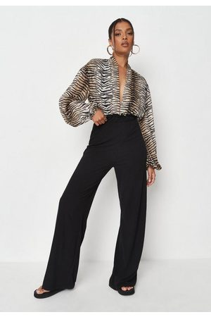Missguided Rib Paperbag Wide Leg Trousers