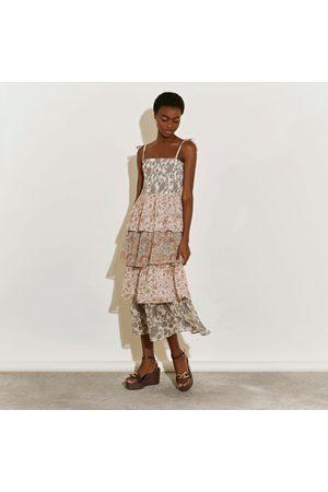 River Island Women Midi Dresses - Womens Cream tiered midi dress