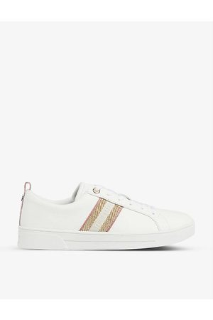 Ted Baker Women Trainers - Baily metallic-stripe leather low-top trainers