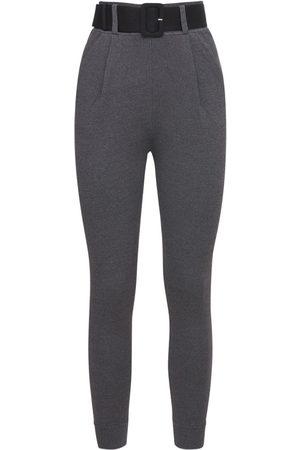 Self-Portrait Viscose Blend Knit Pants W/ Belt