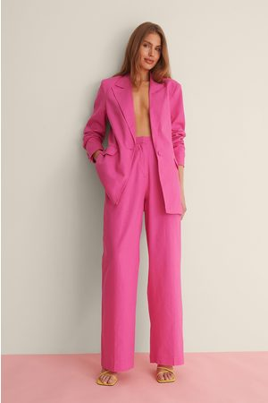 Curated Styles Linen Blend Suit Pants - Pink