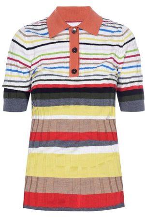 Marni Striped Ribbed Wool Polo Shirt - Womens - Multi