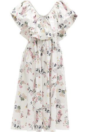 EMILIA WICKSTEAD Jarvis Floral-print Organic-cotton Midi Dress - Womens