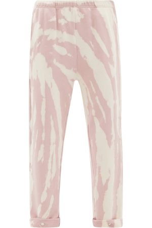Les Tien Snap-front Brushed-back Cotton Track Pants - Womens - Multi