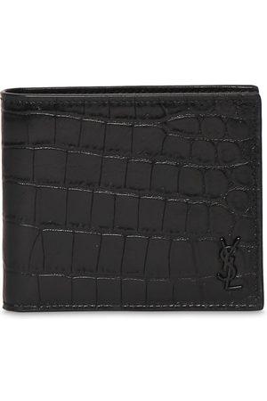 SAINT LAURENT Men Purses & Wallets - Ysl Croc Embossed Leather Wallet