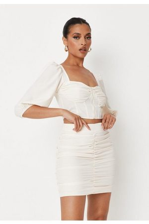 Missguided Cream Co Ord Ruched Mini Skirt