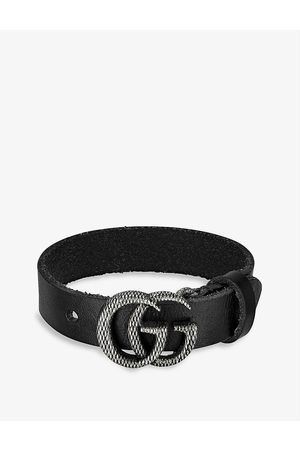 Gucci Double G leather and silver-toned brass bracelet
