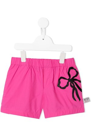 Nº21 Bow-embroidered shorts