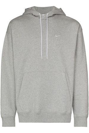 Nike Swoosh logo drawstring hoodie - 063 DK HEATHER/