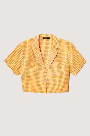 NASTY GAL Womens Plunge Short Sleeve Gingham Shirt