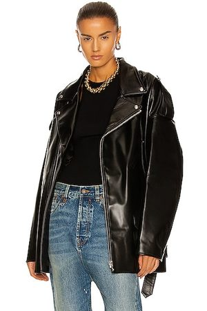 R13 Drop Neck Motorcycle Leather Jacket in