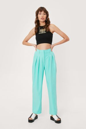 NASTY GAL Women Wide Leg Trousers - Womens Tailored High Waisted Wide Leg Trousers