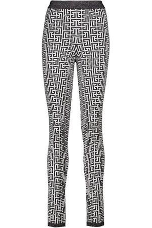 Balmain Printed high-rise knit leggings